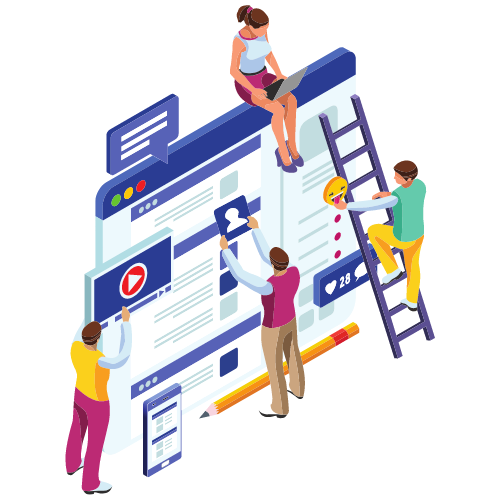 illustrasjon av mennesker som bygger nettside