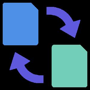 Filer med roterende piler, symboliserer en konvertering